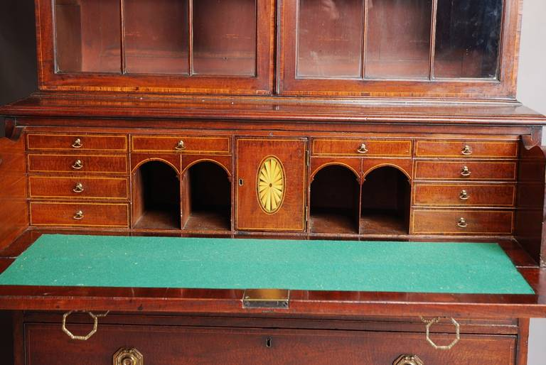 Glass Late 18th century Mahogany Secretaire Bookcase For Sale