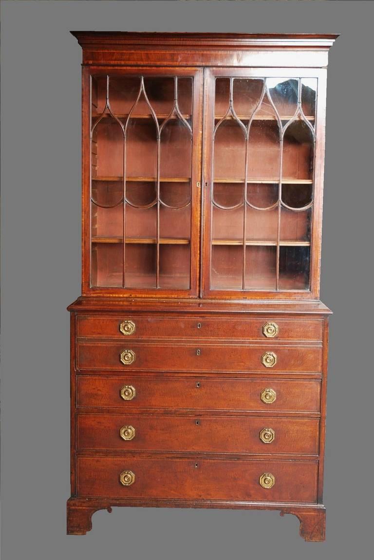 British Late 18th century Mahogany Secretaire Bookcase For Sale