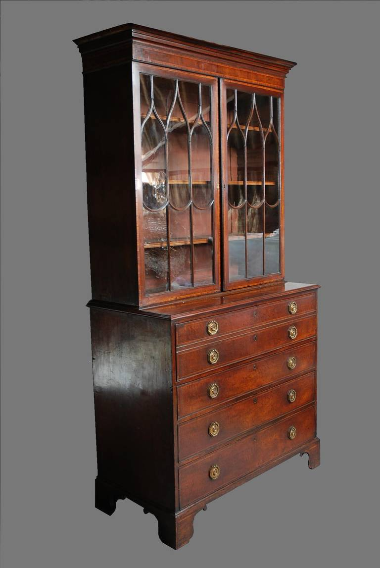 Late 18th century Mahogany Secretaire Bookcase In Excellent Condition For Sale In Suffolk, GB