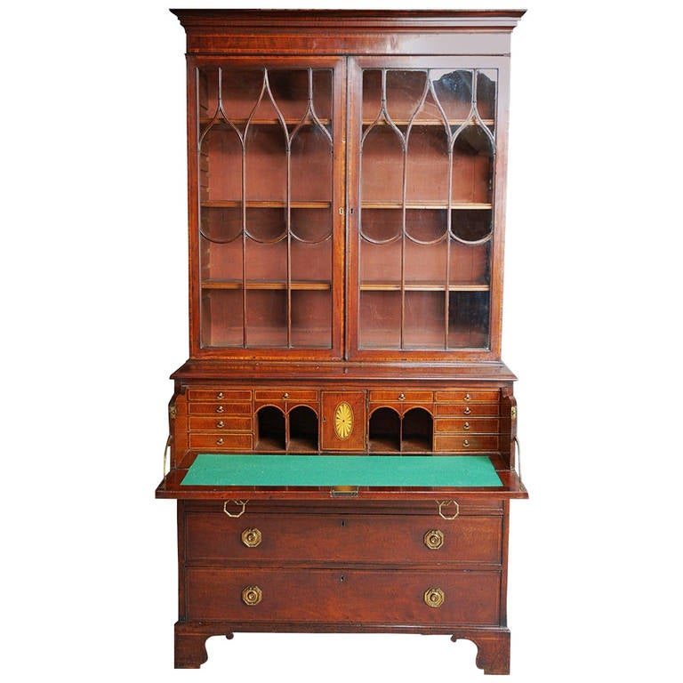 Late 18th century Mahogany Secretaire Bookcase