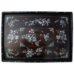 19th century Vietnamese hardwood inlaid tray