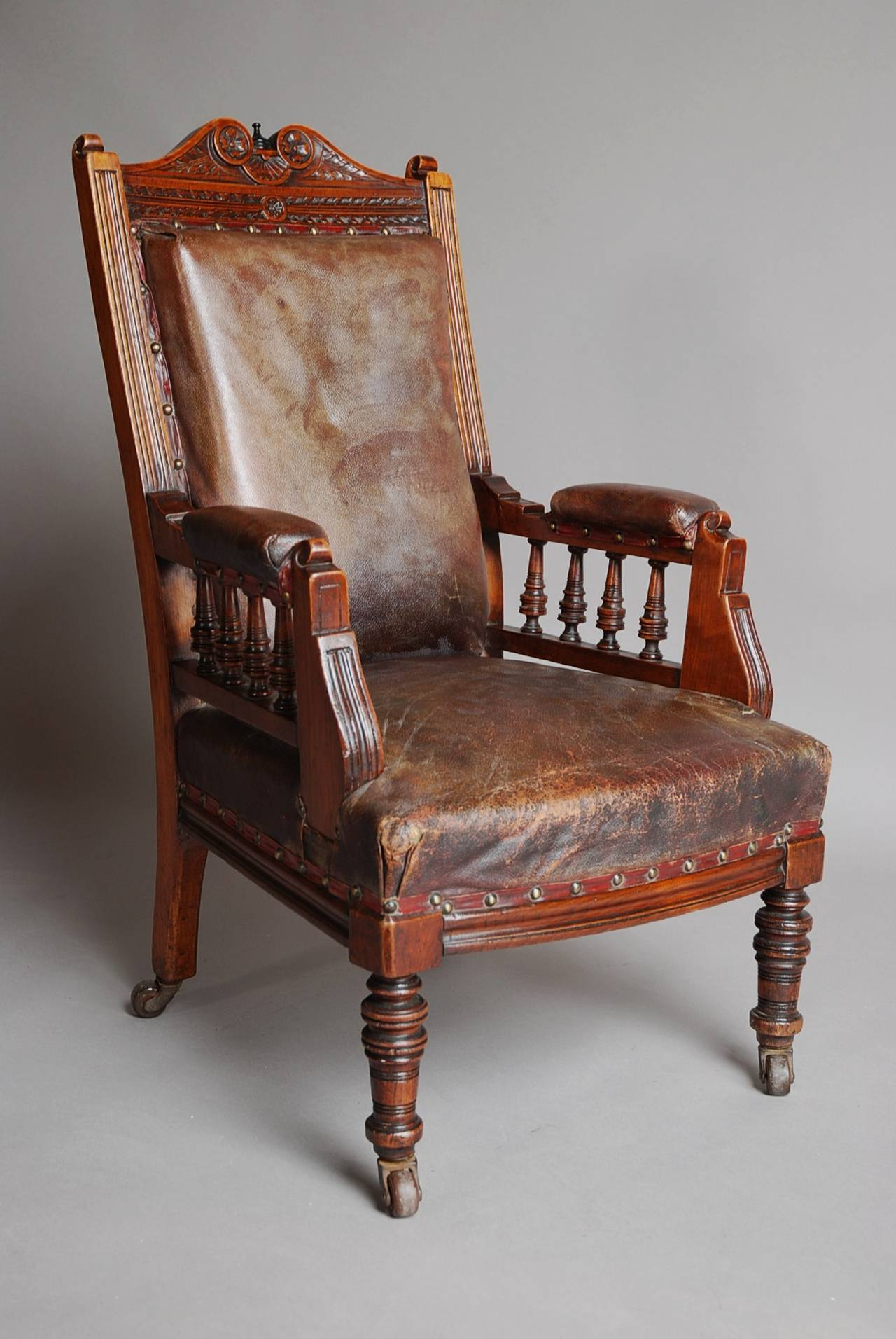 Mahogany and leather large childs armchair for sale at 1stdibs for Oversized armchairs for sale
