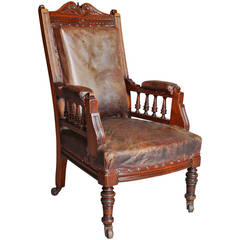 Mahogany and Leather Large Childs Armchair
