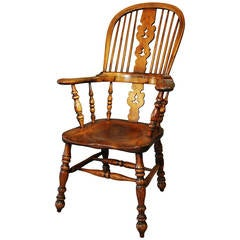 Broad-Armed Fruitwood High Back Windsor Chair