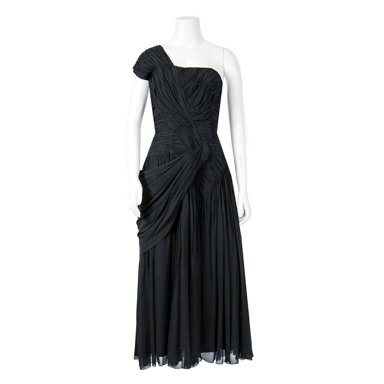 1950's French Couture Heavily-Pleated Black Chiffon One-Shoulder Party Dress For Sale
