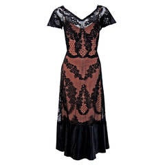 1950's Irene Lentz Sheer Black & Nude Lace Illusion Hourglass Fishtail Dress