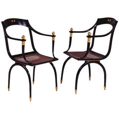 Two Black Lacquered Wood Armchairs in the Style of Emilio Terry