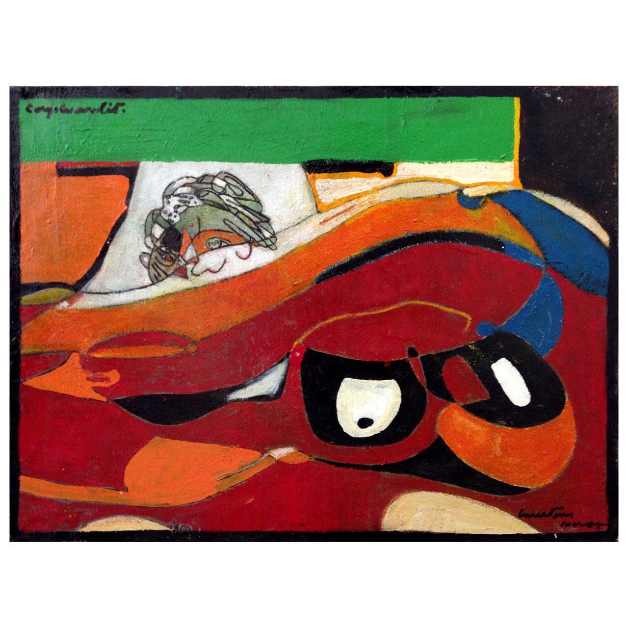 """Pierre Courtens Painting """"Couple au Lit,"""" circa 1985"""
