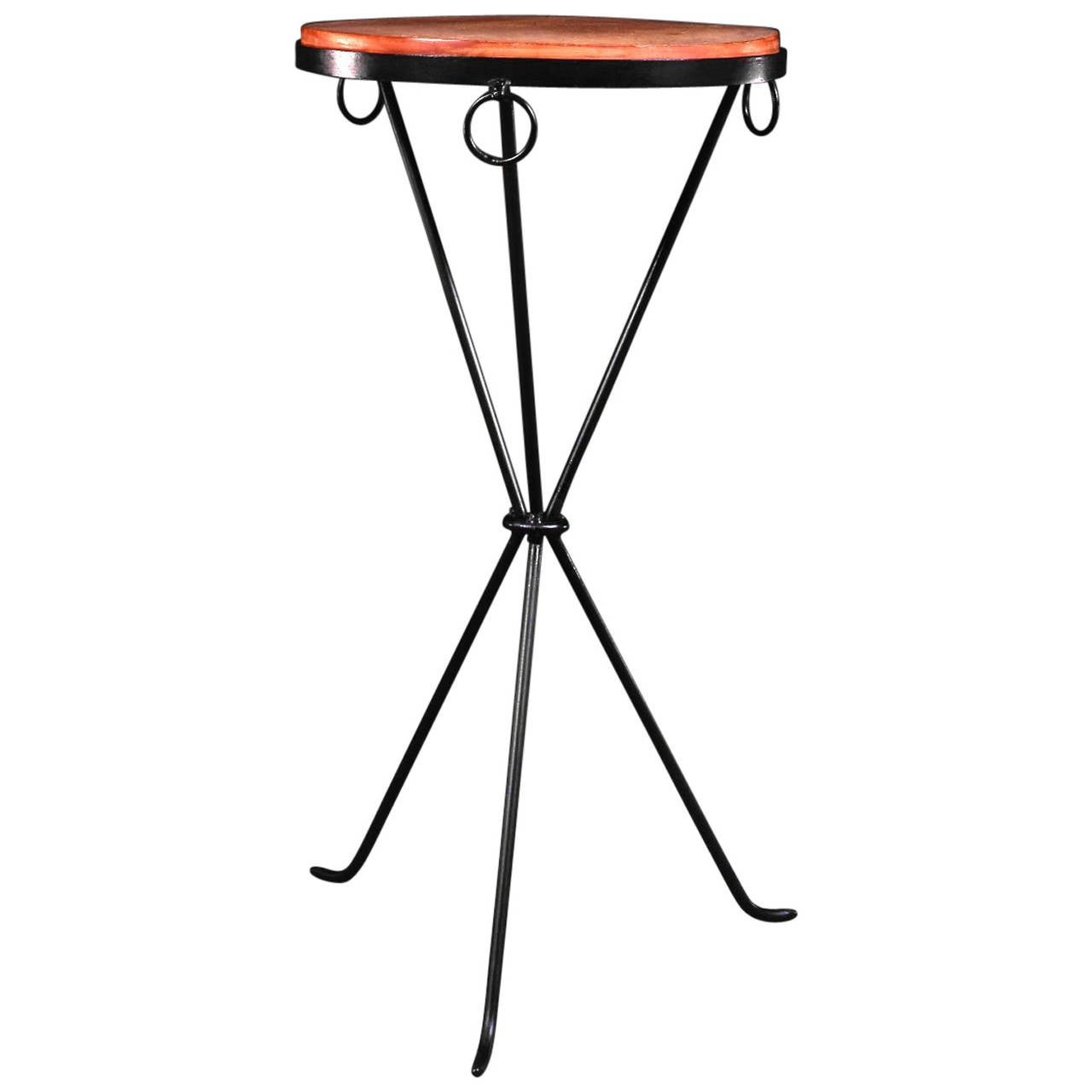J.M. Frank, Black Patinated Wrought Iron Pedestal Table, 1935