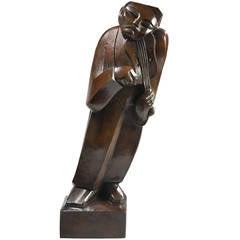 Henri Puvrez, The Violonist, Bronze, 1928