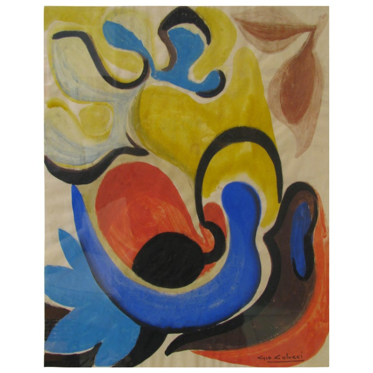 """Gio Colucci """"Composition Abstraite"""" Painting, circa 1955 For Sale"""