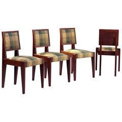 André Sornay, Suite of Four Rosewood Chairs, circa 1927