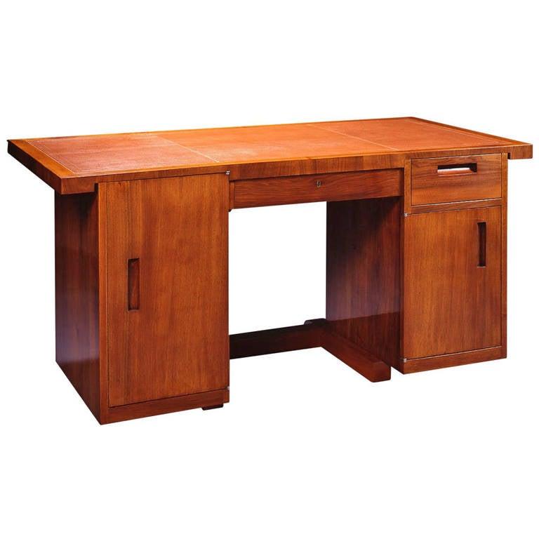 René Herbst Walnut Front Casing Desk For Sale