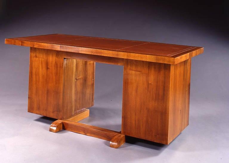 Art Deco René Herbst Walnut Front Casing Desk For Sale