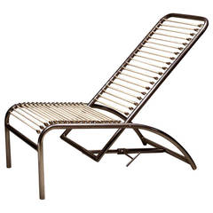 René Herbst Nickel-Plated Metal Deck Chair