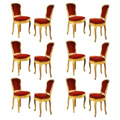 Gerard Mille, 12 Oak Chairs, circa 1938