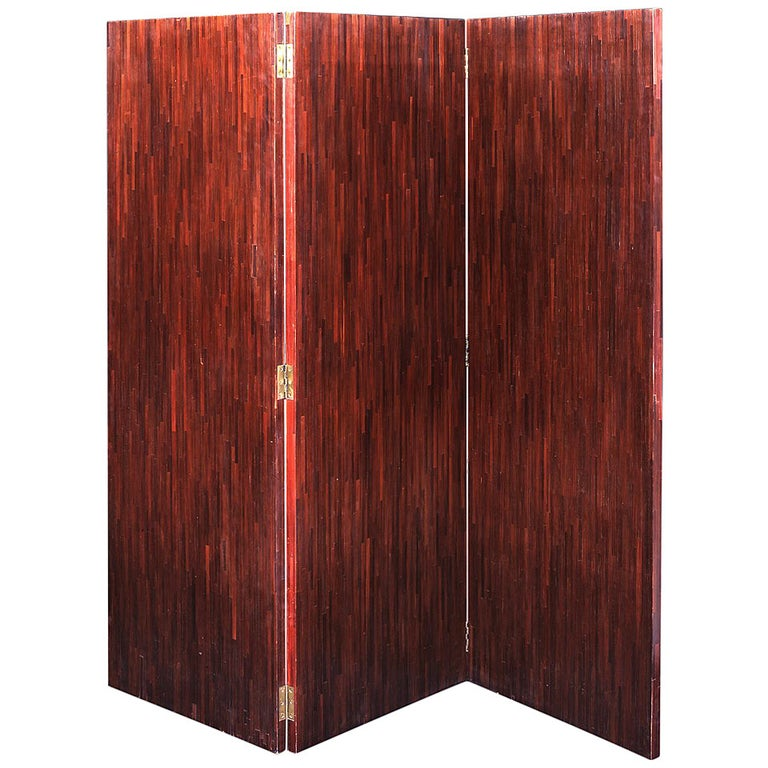 Jean-Michel Frank, Straw Marquetry Folding Screen For Sale