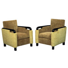 Francisque Chaleyssin, Pair of Comfortable Armchairs, circa 1935