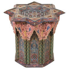 Kashmir/North Indian Taboret Stand with Exotic Decoration and Form