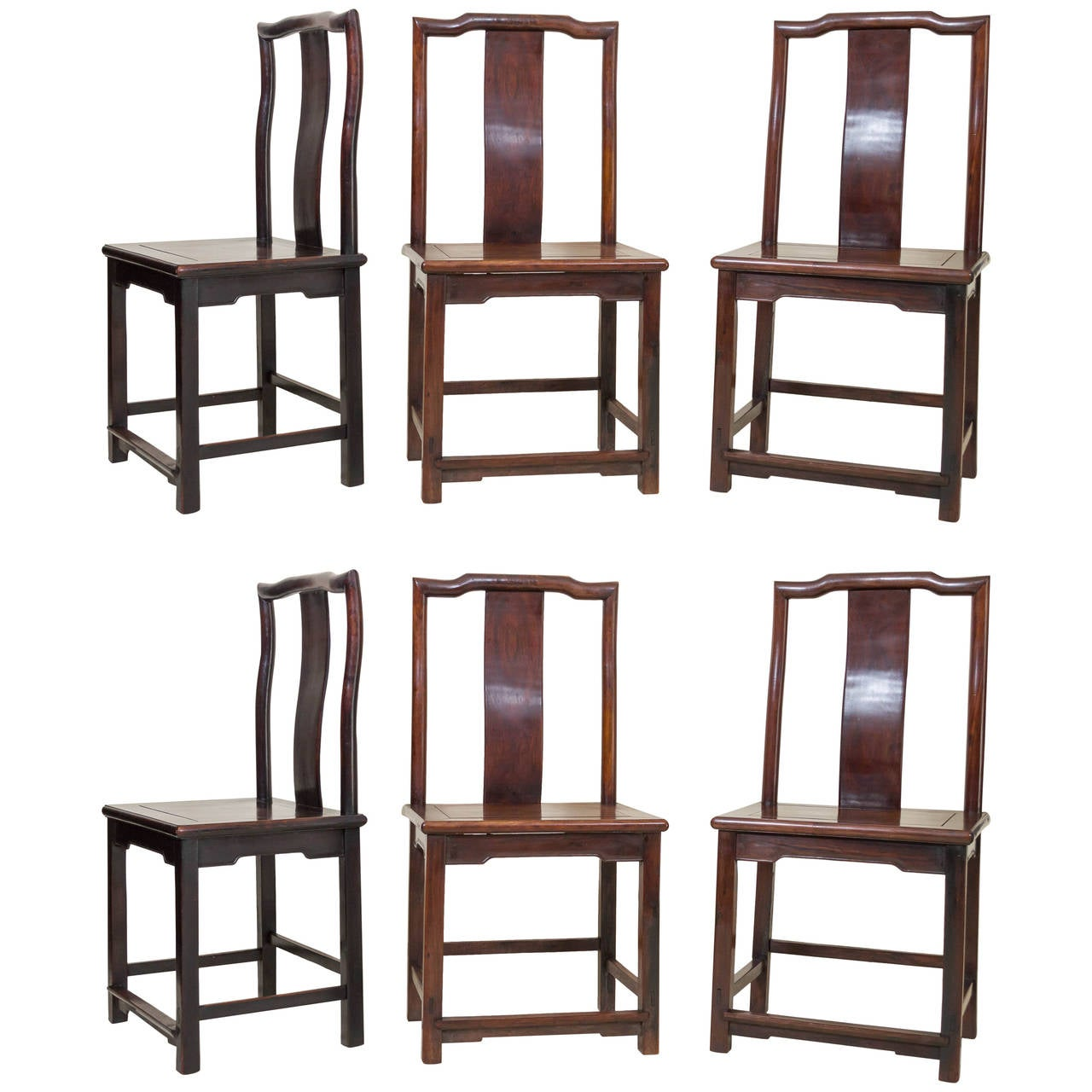 Set of six 19th century chinese rosewood chairs in the ming dynasty style for sale