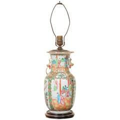 Chinese Porcelain Rose Mandarin Vase Lamp, circa 1900