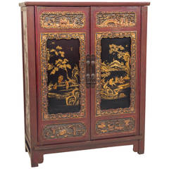 Chinese Lacquer, Carved and Gilt Cabinet Late Qing Dynasty