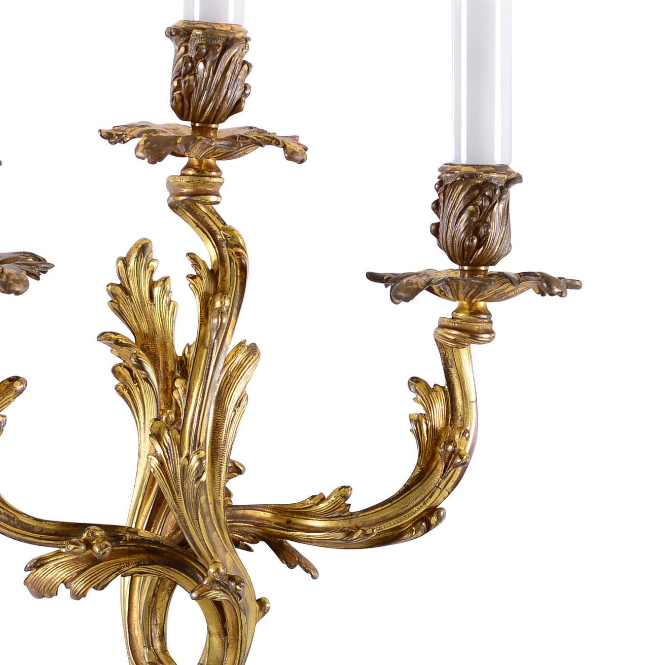 Three Original bronze Rococo Wall Sconces 6