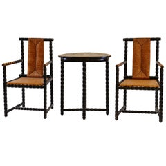 Josef Zotti Armchairs & Table Set Viennese Jugendstil - documented Original 1911