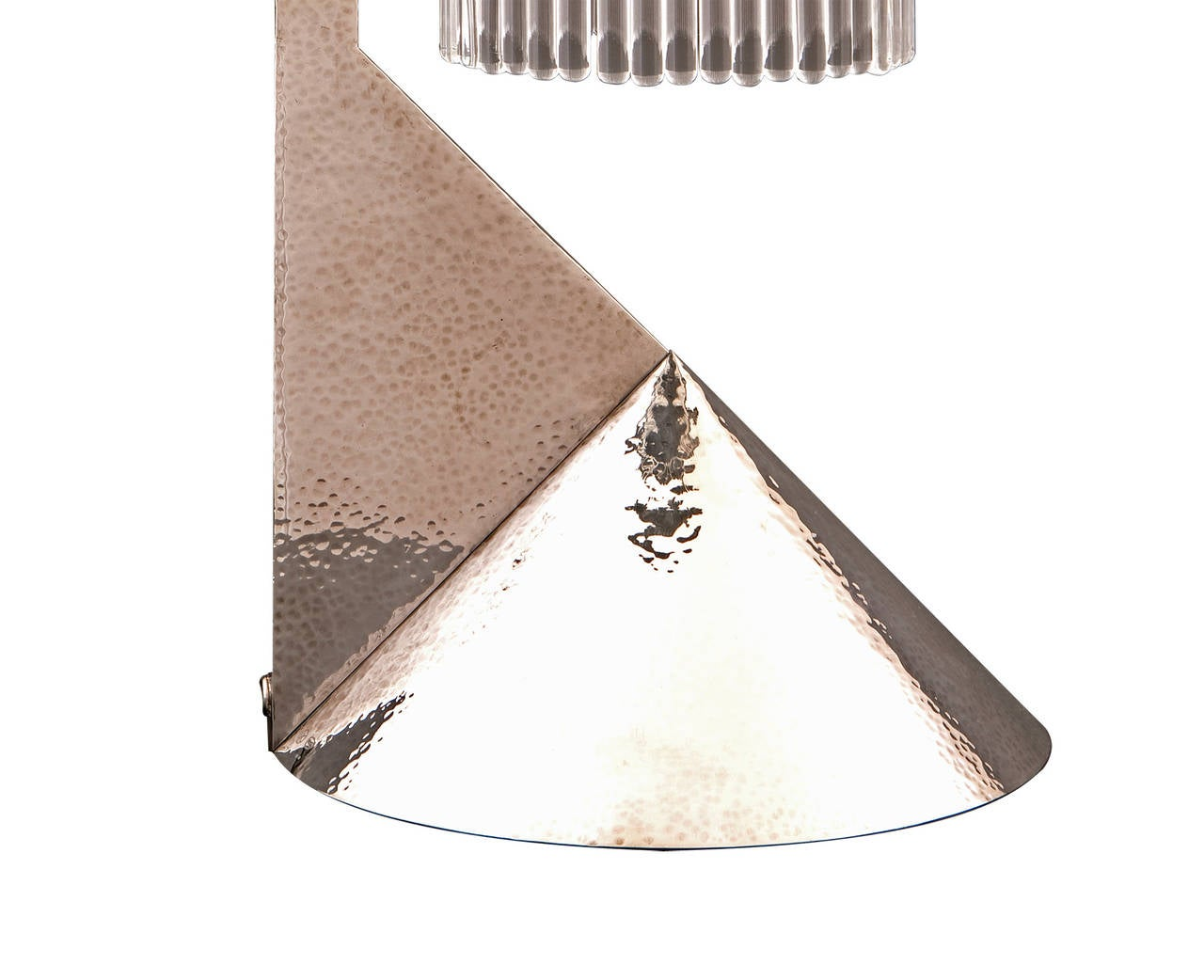 Hammered Koloman Moser Designed Solid Silver Lamp Reproduced by Woka Lamps, 2003 For Sale