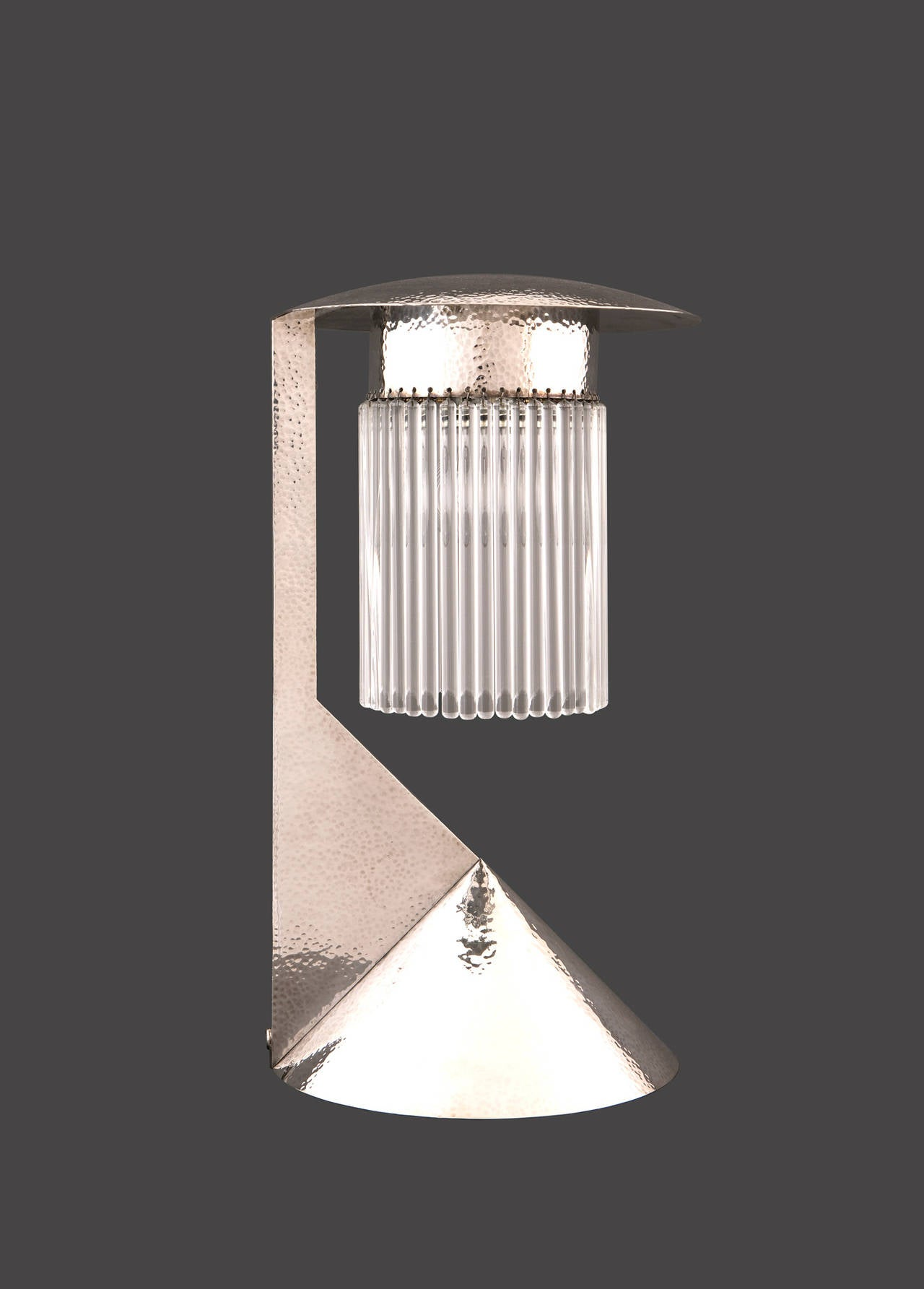 Koloman Moser Designed Solid Silver Lamp Reproduced by Woka Lamps, 2003 In Excellent Condition For Sale In Vienna, AT