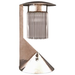 Unique Koloman Moser Designed Solid Silver Lamp Reproduced by Woka Lamps
