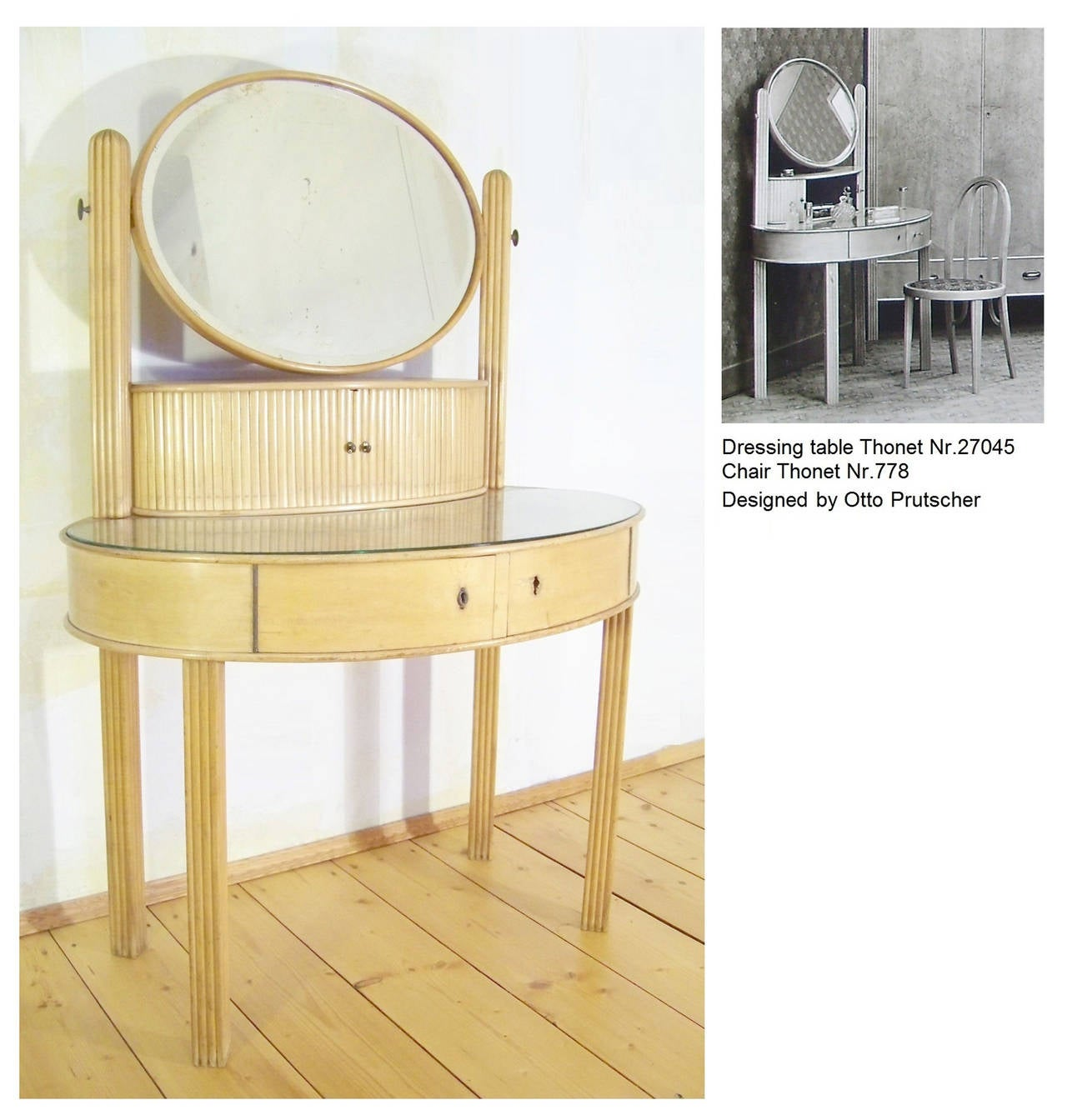 Beech documented Dressing Table by Otto Prutscher for Thonet -Jugendstil 20th Century  For Sale
