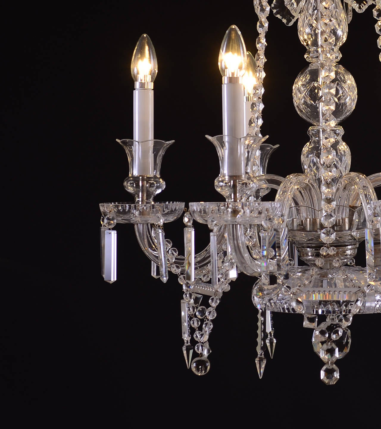 A beautiful 1960s Lobmeyr chandelier with glass-arms and six flames. Measures are just the chandelier; the total drop will be custom-made.