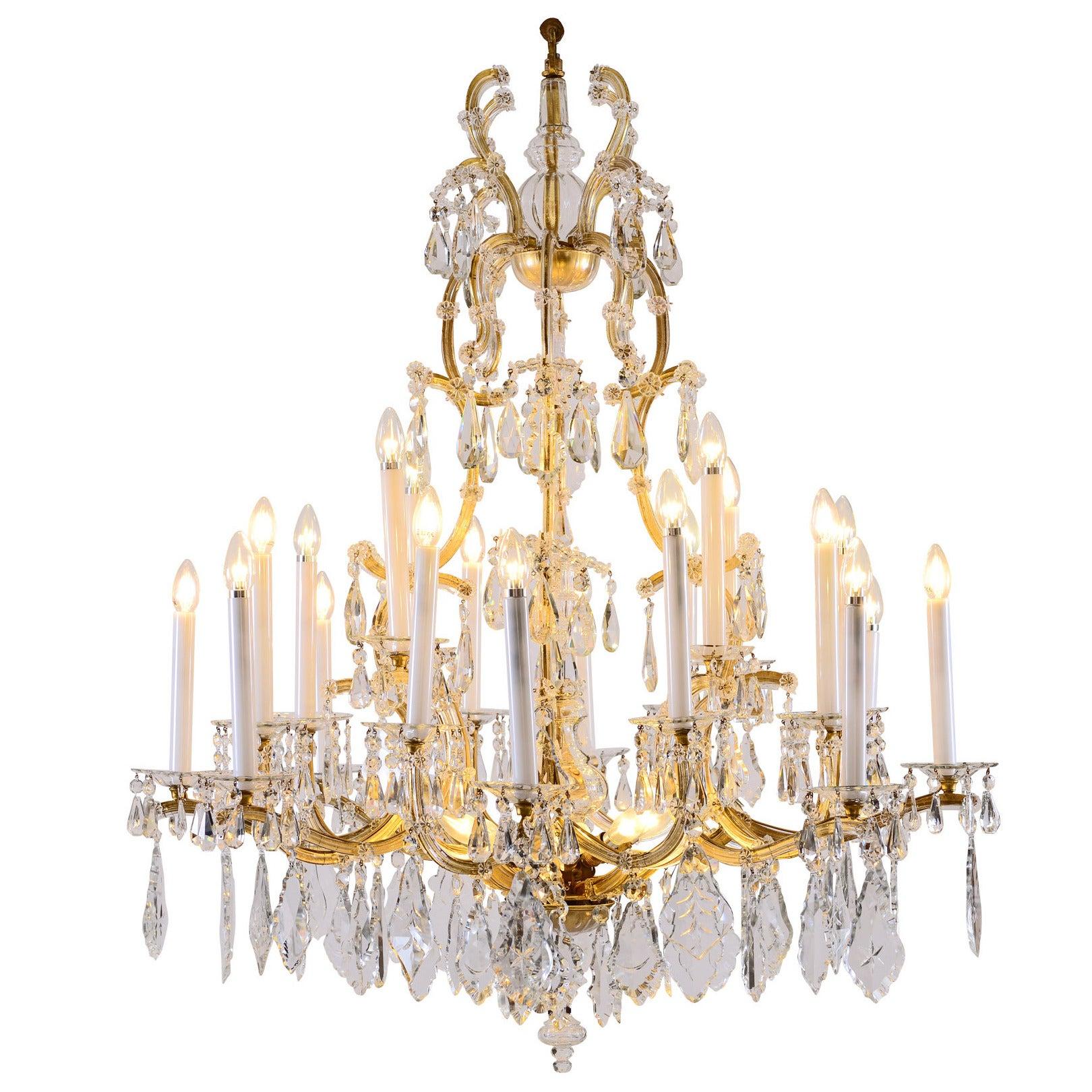 Original Lobmeyr Maria Theresien Crystal Chandelier - richly decorated 28 lights
