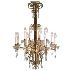 Typical Viennese polished brass Art Deco Chandelier, Original - Restored by Woka