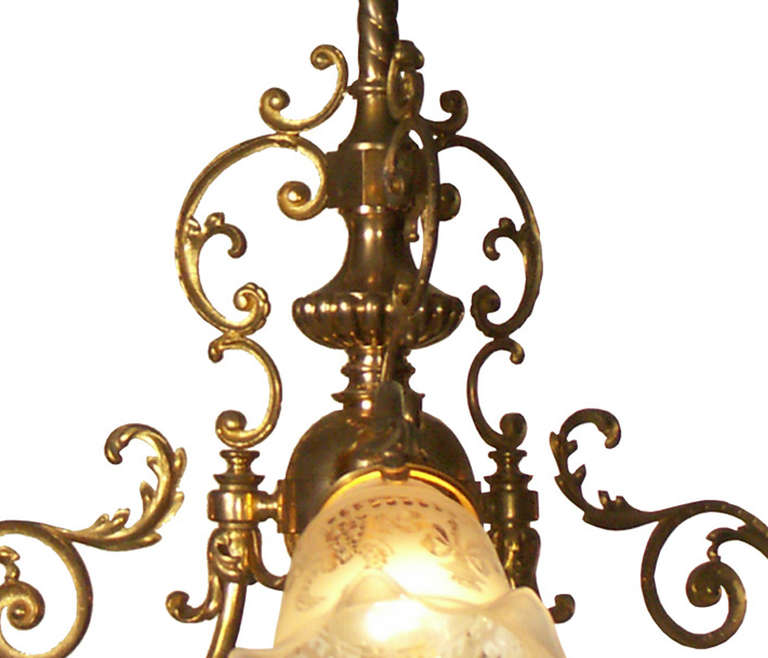 In Vienna the private Houses were connected to the electricity grid, circa 1900. At that time the common gaslights were changed to the new technology. As well new chandelier were built for electric light only. This typical Viennese Chandelier has