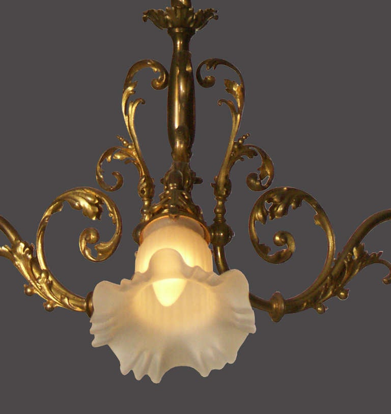 Brass Original Typical Jugendstil /Secessionist Ringstrassen Style Chandelier  For Sale