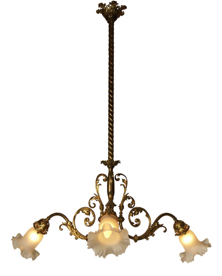 Original Typical Jugendstil /Secessionist Ringstrassen Style Chandelier  In Good Condition For Sale In Vienna, AT
