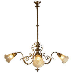 Typical Viennese Ringstrassen style Chandelier restored, new shades 19th century
