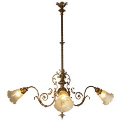 Original  Viennese Jugendstil Ringstrassen style Chandelier restored, new shades