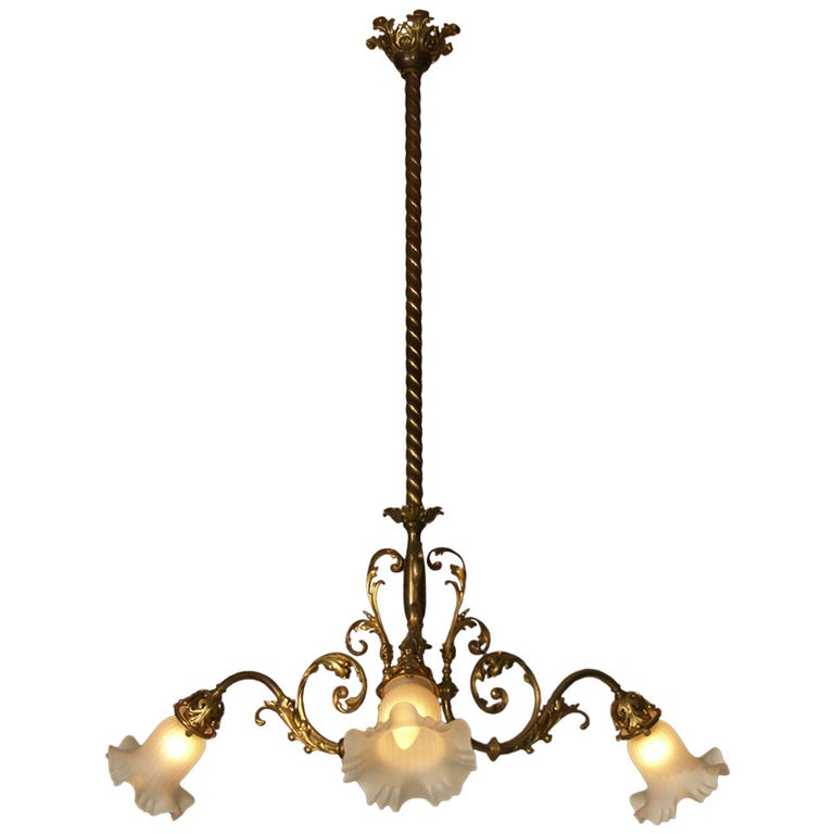 Original Typical Jugendstil /Secessionist Ringstrassen Style Chandelier  For Sale