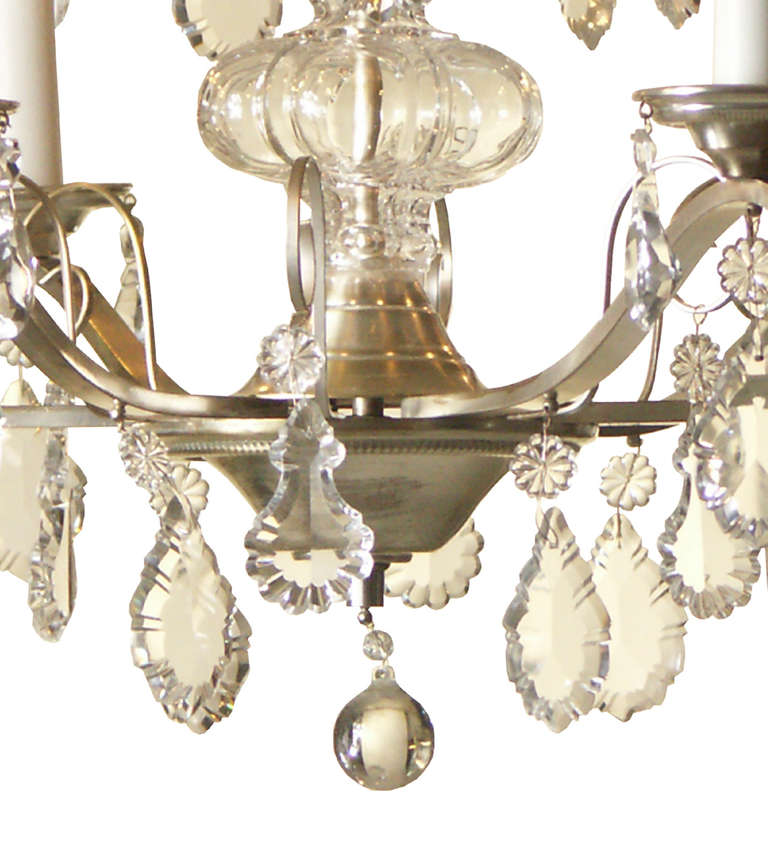 Mid-Century Modern Very Charming and Elegant 1950s Mid Century Modern Crystal Chandelier -Original For Sale