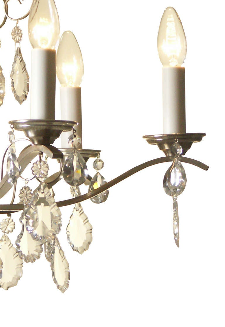 Austrian Very Charming and Elegant 1950s Mid Century Modern Crystal Chandelier -Original For Sale