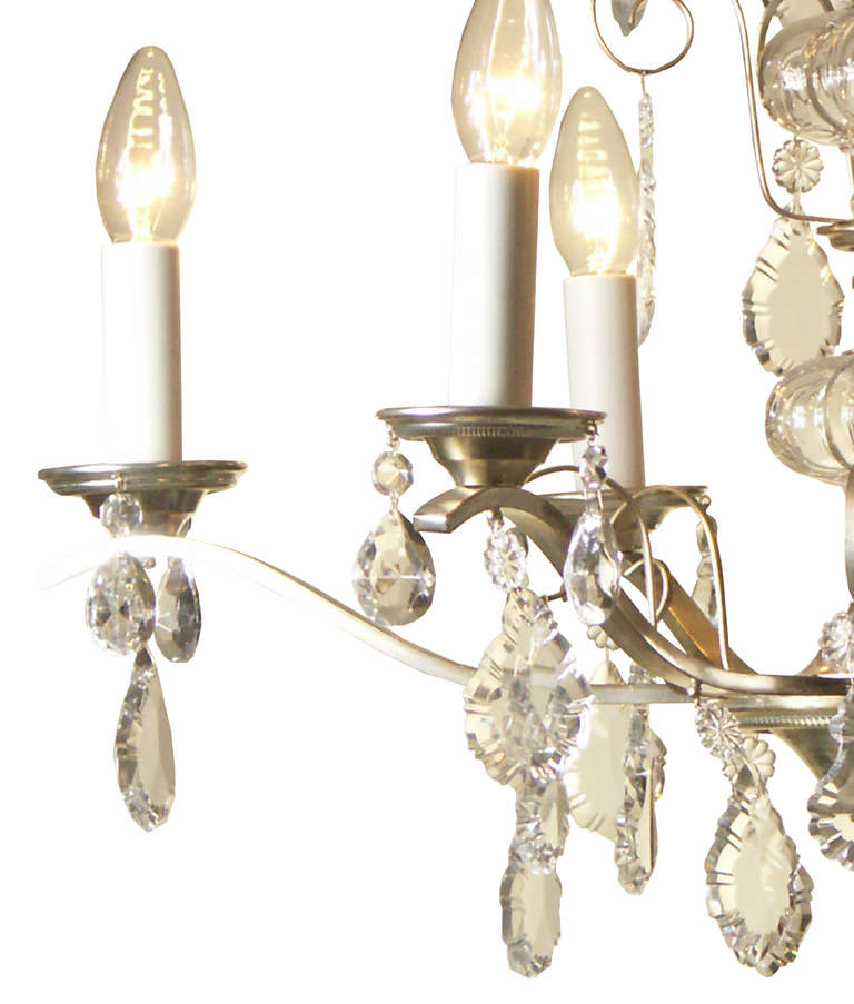Hand-Crafted Very Charming and Elegant 1950s Mid Century Modern Crystal Chandelier -Original For Sale