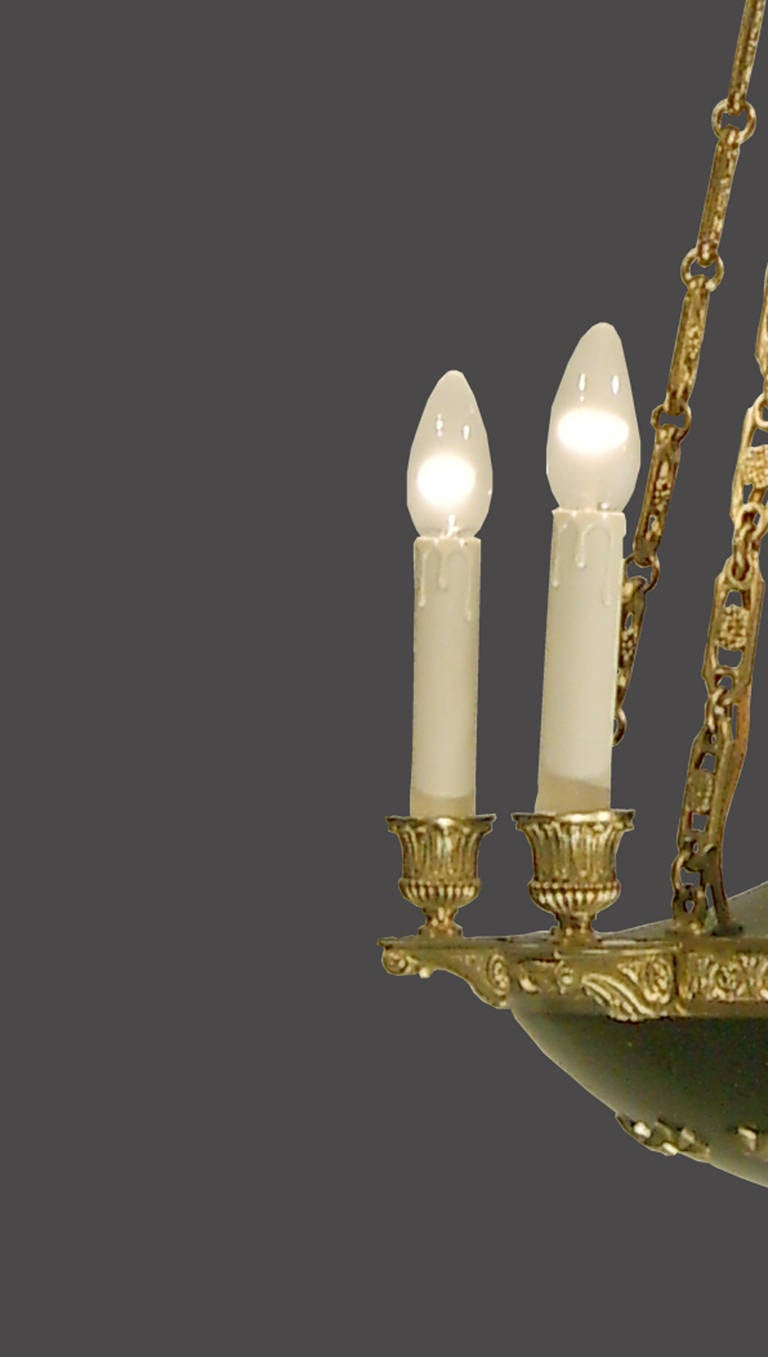 20th Century Original Historistic Empire Chandelier 20th century 1920 - six flames, restored For Sale