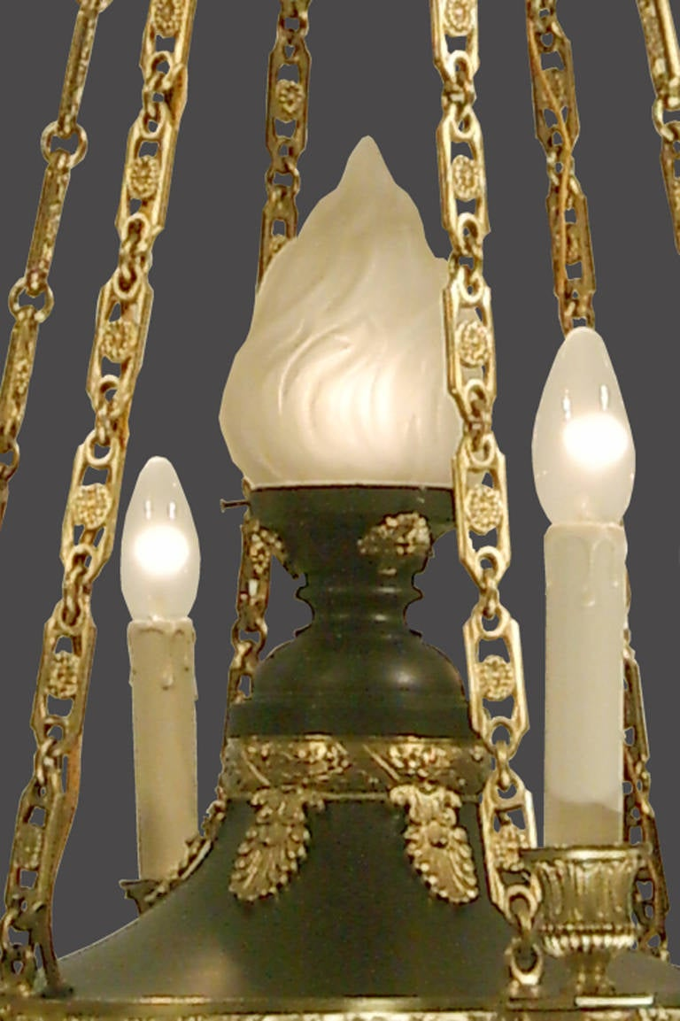 Brass Original Historistic Empire Chandelier 20th century 1920 - six flames, restored For Sale