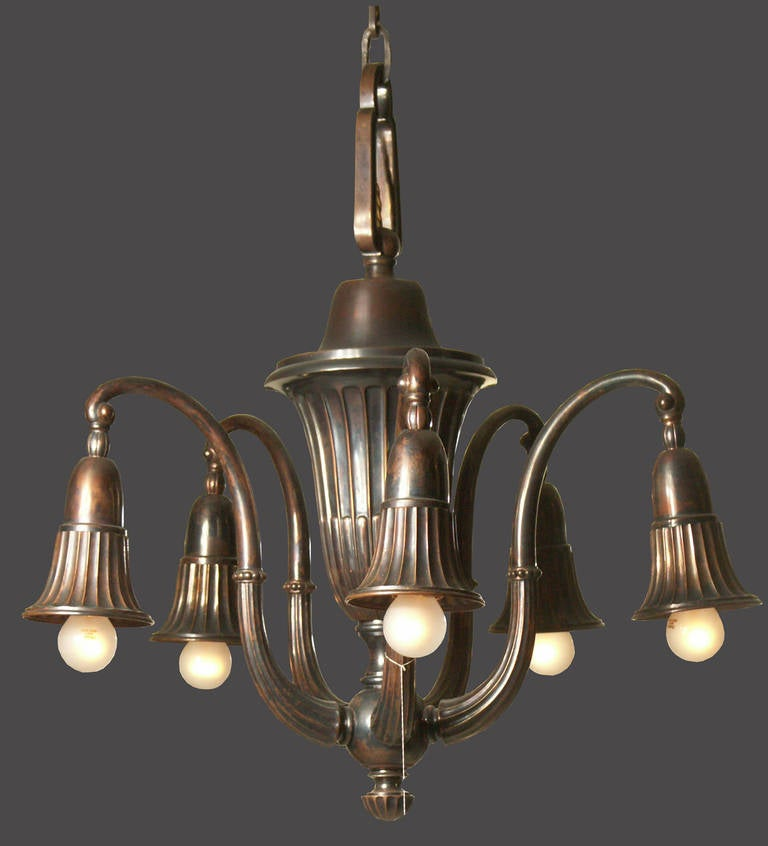 Original Typical Viennese Art Deco 20th Century Brass Chandelier  For Sale 2