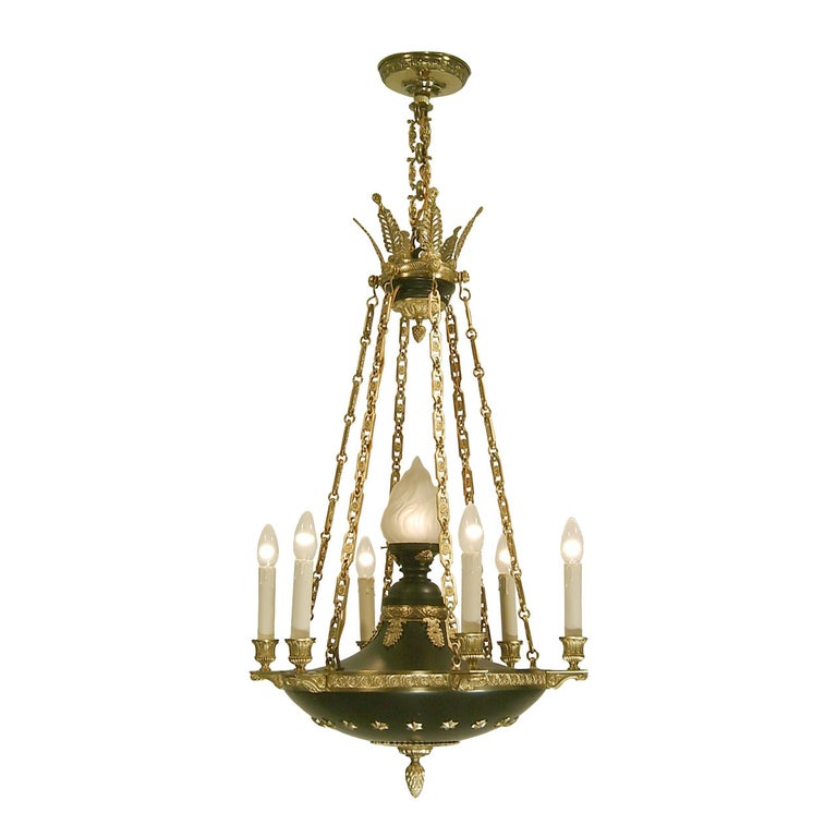 Original Historistic Empire Chandelier 20th century 1920 - six flames, restored For Sale
