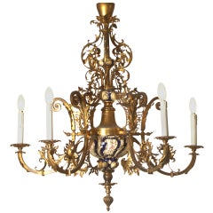 Original 19th Historistic Brass and Ceramic Baroque or Rococo Chandelier