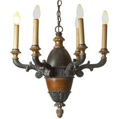 Original Austrian Hungarian  Baroque Classicism style Wood Chandelier